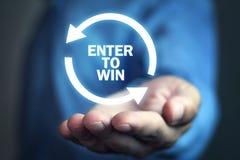 Entrez pour gagner Concept d'affaires images libres de droits