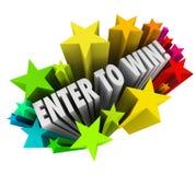 Entrez pour gagner le gros lot d'entrée de tombola de concours de feux d'artifice d'étoiles Photos stock