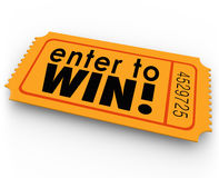 Entrez pour gagner le gros lot de loterie de gagnant de billet de tombola Photos libres de droits