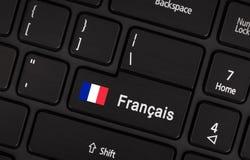 Entri nel bottone con la bandiera Francia - concetto della lingua Immagini Stock