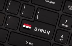 Entri nel bottone con la bandiera Siria - concetto della lingua Immagine Stock