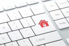 Entri nel bottone con la casa sulla tastiera di computer Immagine Stock