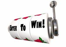 Entri per vincere le grandi ruote dello slot machine di posta di concorso illustrazione vettoriale