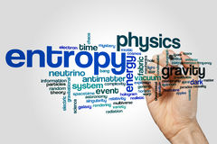 Entropy word cloud. Concept on grey background stock image