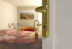 Entry into the bedroom with the key Royalty Free Stock Photo