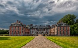 Entry of the Beloeil castle. On a stormy day stock photography