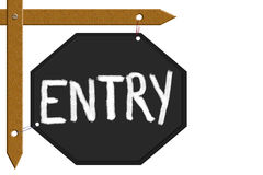 Entry board. Message board displayed message of entry on black board attached wood sticks in isolate background royalty free illustration