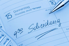 Entry in the calendar: divorce Royalty Free Stock Images