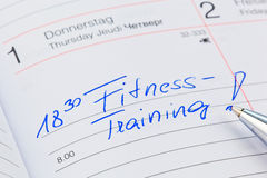 Entry in the calendar: exercising Stock Photo