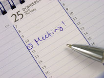 Entry In The Calendar: Meeting Stock Images