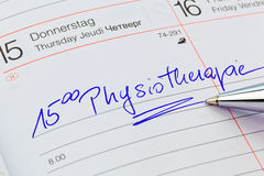 Entry in the calendar: physiotherapy Royalty Free Stock Images