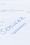 Entry in the calendar: seminar Stock Photo
