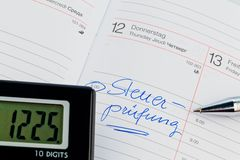 Entry in the calendar: tax audit Royalty Free Stock Images