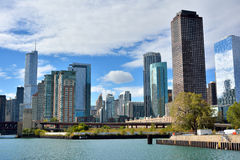 Entry of Chicago River from Michigan Lake and city view Stock Photos