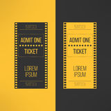Entry cinema ticket in film footage style. Admit Stock Image