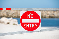Entry forbidden sign warning property gate Royalty Free Stock Images
