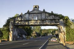 Entry gate to Illocos Norte, road gate and sign, day, spanish influence, across road. Each province announces its borders to the traveler, but this one in Stock Image