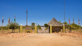 Entry gate to the Lapa Lange Game Lodge in Southern Namibia. Mariental, Namibia - March 25, 2019 : Entry gate to the Lapa Lange Game Lodge in Southern Namibia stock images