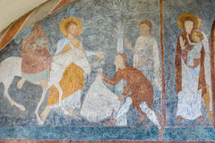 The entry into Jerusalem. A medieval fresco painting in blue, Jorlunde church, Denmark, July 24, 2017 royalty free stock photography