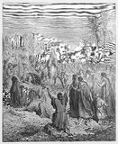 Entry of Jesus into Jerusalem. Picture from The Holy Scriptures, Old and New Testaments books collection published in 1885, Stuttgart-Germany. Drawings by