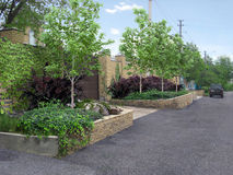 Entry landscaping behind the fence, 3d illustration Stock Photo