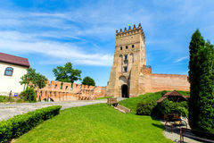 Entry in Lutsk castle. Summer day, there is green grass in front of the castle Royalty Free Stock Photo