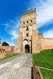 Entry in Lutsk castle. Summer day, there is green grass in front of the castle Stock Photos