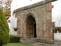 Entry in the medieval fortified church of Harman (Honigsberg). Medieval vestiges near the medieval city with the largest preserved area in Europe-Brasov( royalty free stock image