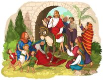 Entry of Our Lord into Jerusalem Palm Sunday. Jesus Christ riding a donkey. Crowds welcome him with palm fronds, spread clothes stock illustration