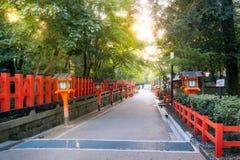 Entry Path with Lanterns at Maruyama Park, Kyoto, Japan. Colorful entry path with lanterns on a beautiful sunny day at at Yasaka Shrine, Maruyama Park, Gion royalty free stock photo