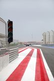 Entry from pit stop lane to main forumla 1 track at BIC Royalty Free Stock Photography