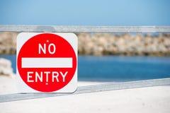 Entry Prohibited sign warning property gate Stock Image
