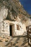 Entry at rock monastery Stock Photo