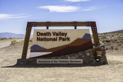 Entry sign of the Death Valley National Park California stock image