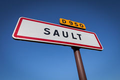 Entry sign, village Sault, Provence, France Stock Image