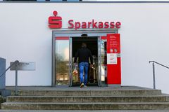 Entry of Sparkasse bank royalty free stock image