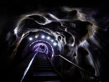 Entry stairs in Turda salt mine, Romania. Entry stairs in Turda salt mine, Turda county, Romania royalty free stock photo