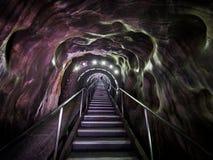 Entry stairs in Turda salt mine, Romania Stock Photos
