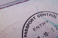 Entry Stamp. A passport close up of an entry stamp from customs Royalty Free Stock Photos