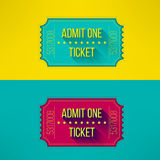 Entry ticket in modern flat design with long. Shadow. Admit one cinema, theater, zoo, festival, carnival, concert, circus event. Pass icon for online tickets Royalty Free Stock Photo