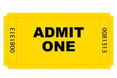 Entry Ticket Vector. Cinema yellow entry ticket vector graphics Stock Images