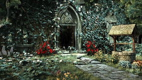 Entry to abandoned church. Entry to old gothic church with ruined pavement and well Royalty Free Illustration