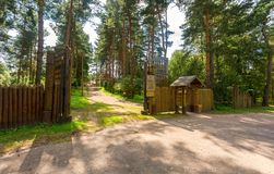 Entry to the ancient architectural ensemble of Peryn Skete with. Church of the Nativity of Our Lady in Veliky Novgorod, Russia Stock Photography