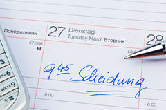 Entry to the calendar divorce Royalty Free Stock Photography