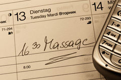 Entry to the calendar massage Royalty Free Stock Photography