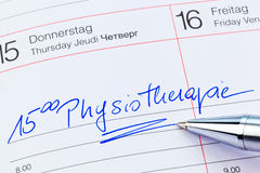 Entry to the calendar: physiotherapy Royalty Free Stock Photography