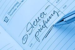 Entry to the calendar: tax audit Royalty Free Stock Image