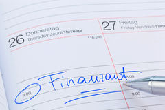 Entry to the calendar: tax office Stock Photography