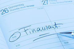 Entry to the calendar: tax office Stock Image