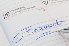 Entry to the calendar: tax office Stock Images